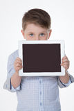 Nice child loves technology Royalty Free Stock Images