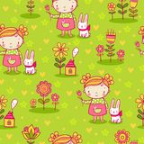 Cute girl and flowers seamless pattern Royalty Free Stock Photography
