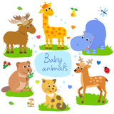 Nice Childish Background. Giraffe, Beaver, Cat, Hippo, Elk, Deer. Seamless Vector Pattern. Stock Images