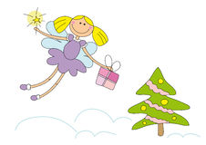 Nice christmas fairy. Illustration of nice christmas fairy in the sky Stock Photography