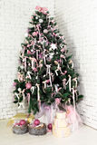Nice Christmas fir tree. With gifts under it Stock Photo