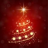 Nice  Christmas tree on the dark background Stock Photos