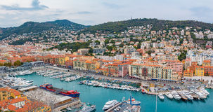 Nice city coastline on the Mediterranean Sea Stock Images