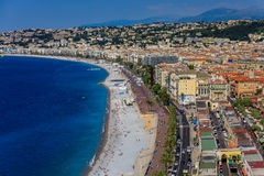 Nice city coastline on the Mediterranean Sea Royalty Free Stock Images