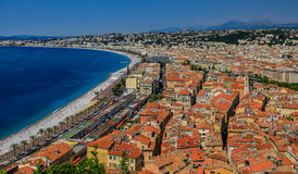 Nice city coastline and orange rooftops of the Old Town, Vieille Royalty Free Stock Image