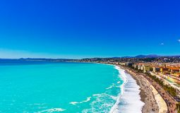 Nice city, France. Mediterranean sea. Landscape from the sea. Photo stock royalty free stock image