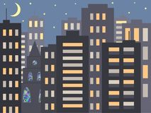 A nice city night cityscape in the evening or at night: modern houses, buildings and a Church or Cathedral with mosaic Windows royalty free illustration