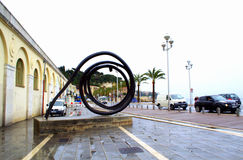 Nice city street view,France. Abstract art installation at Nice city sidewalk on rainy spring day.French Riviera,Cote d'Azur Stock Images