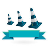 Nice classical blue plastic three traffic cone with white stripes on white Royalty Free Stock Photos