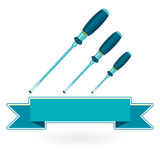 Nice classical tighten metal blue three screwdrivers on white Royalty Free Stock Image