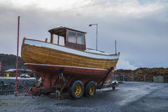 Nice clinker built wooden boat Royalty Free Stock Image