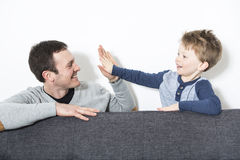 Nice closeup of father and son at home Royalty Free Stock Photos
