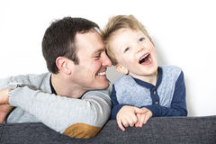 Nice closeup of father and son at home Stock Photography