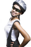 Nice closeup portrait of female bike athlete smiling and standin Royalty Free Stock Images