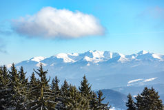 Nice cloud over winter mountains Stock Photography