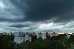 Nice clouds at blue hour in Munich - Neuperlach Stock Photography