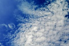 Nice clouds in deep blue sky Royalty Free Stock Photos