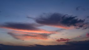 Nice clouds with sunset light, Time lapse stock footage