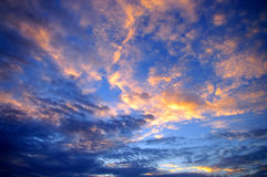 Nice cloudy sky with sunset Stock Photos