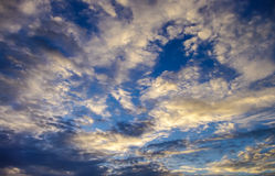 Nice cloudy sky with sunset light Royalty Free Stock Photo