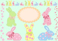 Nice collection of vector bunny Royalty Free Stock Photos