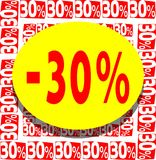 Board for 30% discount in red yellow and white. A nice colorful board which can be used in all project about discounts Royalty Free Stock Images