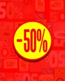 Colorful board for 50% discount in red and yellow Royalty Free Stock Photos