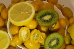 Colorful Citrus fruits close up in my room Stock Photography