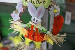 Nice colorful easter decoration in the shop stock images