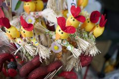 Nice colorful easter decoration  in the shop Stock Photos