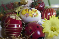 Nice colorful easter eggs  on the colorful bacground Stock Image