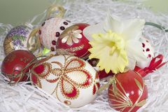 Nice colorful easter eggs close up Stock Image