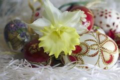 Nice colorful easter eggs close up Stock Photos