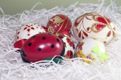 Nice colorful easter eggs close up Royalty Free Stock Images