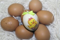 Nice colorful easter eggs with flower Stock Photo