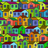 Nice colorful Houses set. Vector seamless pattern. Stock Photo