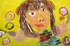 Colorful child drawing stock images