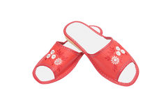 Nice,comfortable leather slippers on a white. Royalty Free Stock Images