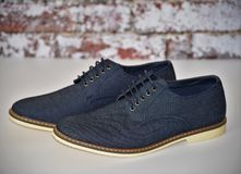 Mens blue denim shoes. royalty free stock image
