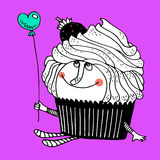 Nice comic cartoon character of cupcake Stock Photography