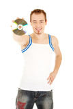 Nice compact disc recommended by man Royalty Free Stock Image