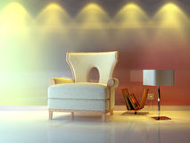 Nice composition. A modern 3d interior composition with lamp Stock Image
