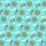 Nice contrast fruits seamless pattern on blue background vector illustration
