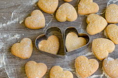 Nice cookies in the form of hearts Stock Photos
