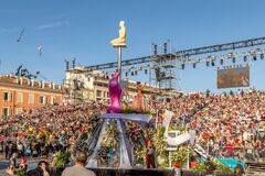 Nice, Cote d'Azur, France - February 15 2020: Carnaval de Nice, This years theme King of Fashion -  at the end of the flower