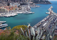 Nice (Cote d'Azur, France) with harbor, ships and lighthouse Royalty Free Stock Image