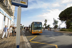 Nice, Cote d`Azur, France - July 28th 2017 - Bus arriving in str. Bus arriving in Nice station Stock Photo
