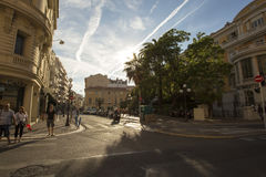 Nice, Cote d`Azur, France - July 28th 2017 - Summer day in stree. People walking around the streets in Nice - France Royalty Free Stock Photos