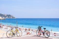 Beautiful daylight view to Nice Cote d`Azur blue sea royalty free stock photo