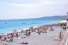 Beautiful daylight view to Nice Cote D`azur beach in France Stock Photo